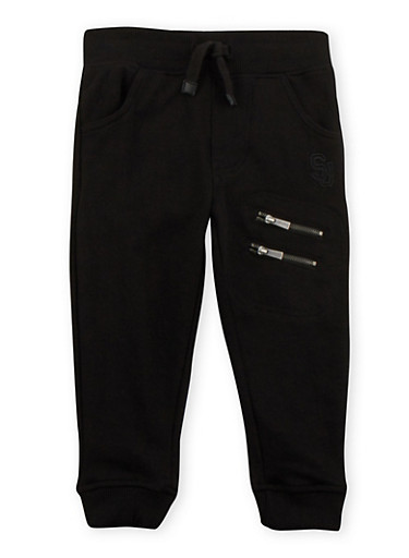 Toddler Boys Sean John Joggers with Double Zipper Accents,BLACK,large