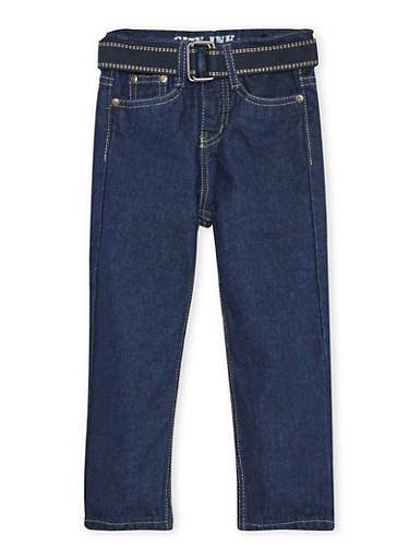 Toddler Boys Jeans with Webbed Belt,DENIM,large