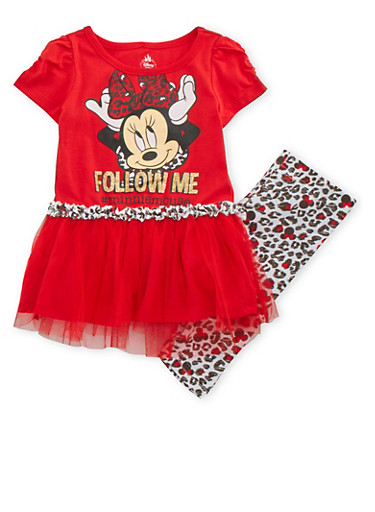 Baby Girl Minnie Mouse Top and Leggings Set,RED,large
