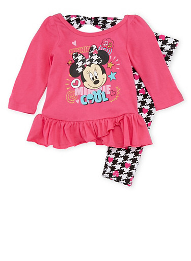 Baby Girl Minnie Mouse Peplum Top with Leggings Set,FUCHSIA,large