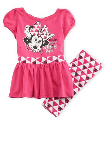 Baby Girl Peplum Top and Leggings with Minnie Geo Print,FUCHSIA,large