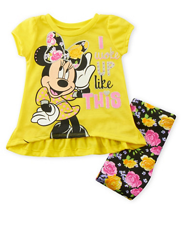 Baby Girls Minnie Mouse T-Shirt and Leggings Set,YELLOW,large