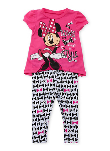 Baby Girl Minnie Mouse T-Shirt and Leggings Set,FUCHSIA,large