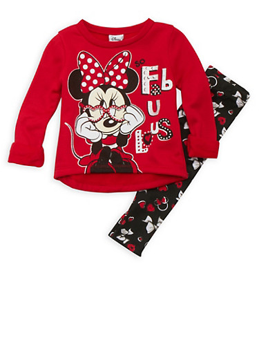 Baby Girl Minnie Mouse Graphic Sweatshirt with Leggings Set,RED,large