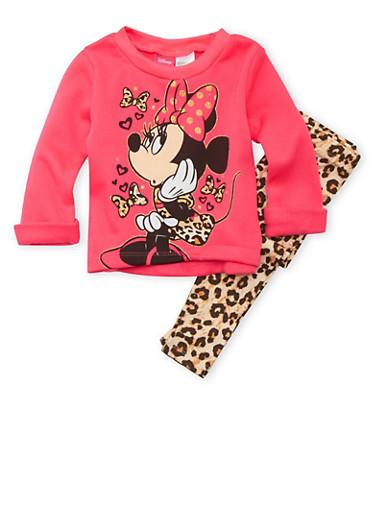 Baby Girl Minnie Mouse Sweatshirt and Leggings Set,FUCHSIA,large