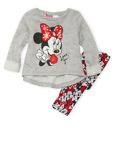 Baby Girl Minnie Mouse Sweatshirt and Leggings Set,GREY,large