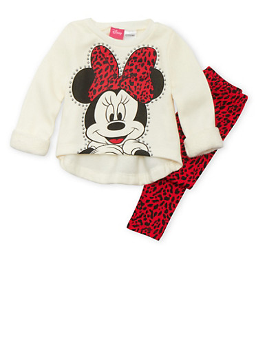 Baby Girl Disney Minnie Mouse Fleece Top and Leopard Print Leggings Set,IVORY,large