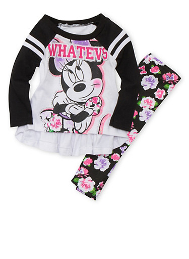 Baby Girl Minnie Mouse Top and Leggings Set,BLACK,large