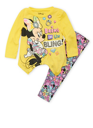 Baby Girl Top and Leggings Set with Bring On The Bling Graphic,YELLOW,large