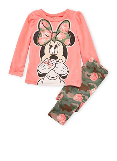 Baby Girl High-Low Top with Printed Leggings and Minnie Mouse Graphic,CORAL,large
