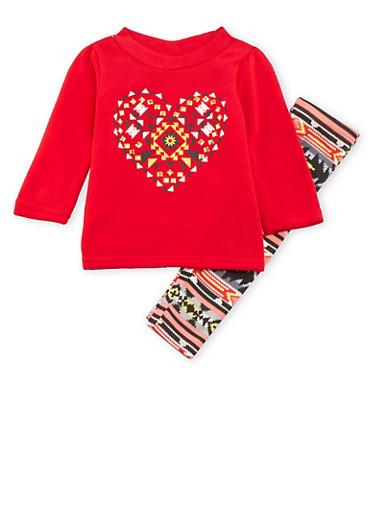 Baby Girl Fleece Sweatshirt and Leggings Set,RED,large