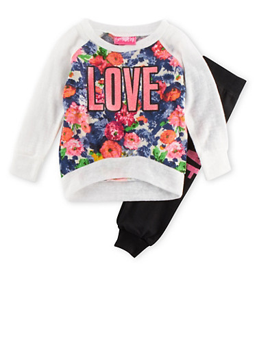 Baby Girl Floral Top and Knit Joggers Set with Love Graphic,IVORY,large