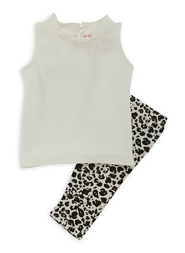 Baby Girl Rib-Knit Top and Leopard Print Leggings Set,IVORY,large