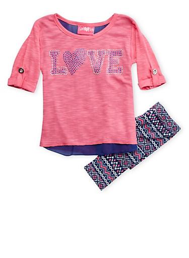 Baby Girls Studded Love Top and Aztec Print Leggings Set,FUCHSIA,large