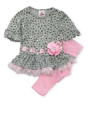 Baby Girl Sequined Ruffle Top and Leggings Set,PINK,large