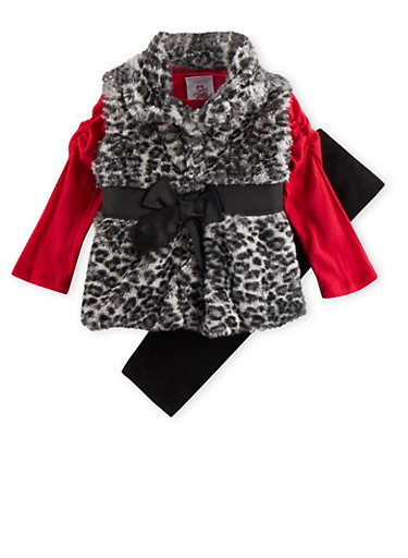 Baby Girl Top with Plush Vest and Leggings Set,RED,large