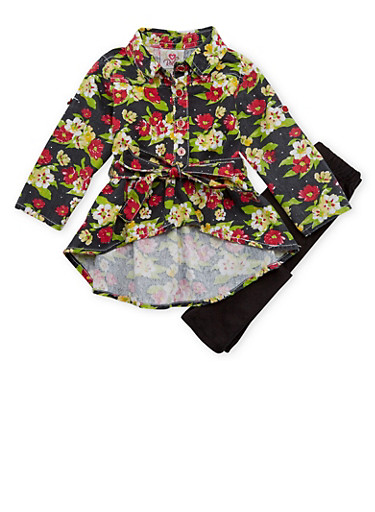 Baby Girl Solid Leggings and Floral Print High Low Shirt,BLACK,large