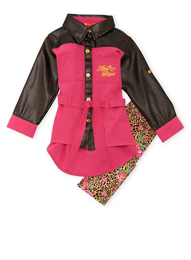 Baby Girl Belted Tunic Top and Printed Leggings Set,FUCHSIA,large