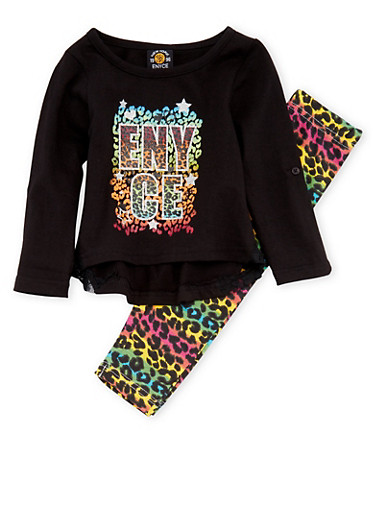 Baby Girl Enyce Graphic Top and Printed Leggings Set,BLACK,large
