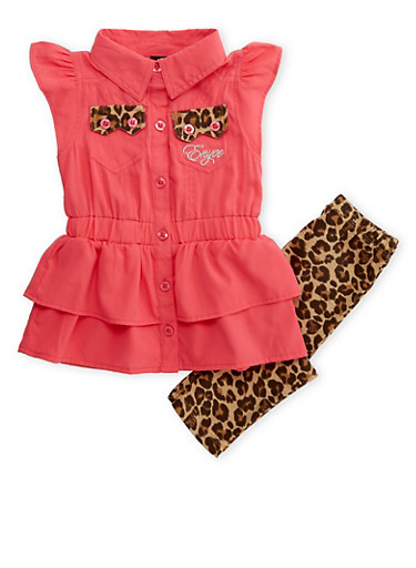 Baby Girl Enyce Tiered Top and Printed Leggings Set,CORAL,large