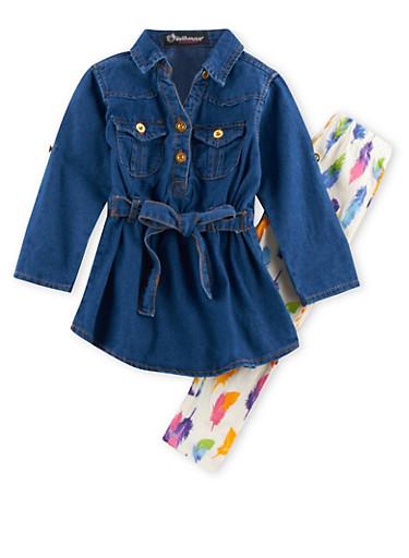 Baby Girl Chambray Dress and Leggings Set,LIGHT WASH,large