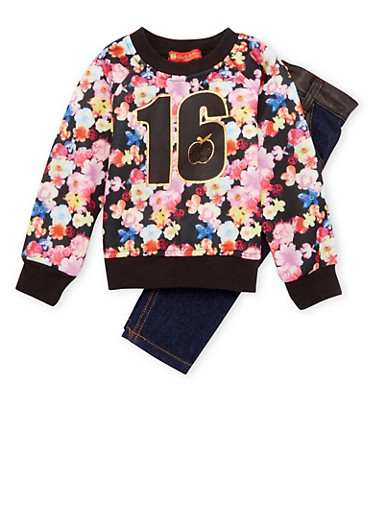 Baby Girl Floral Top and Jeans Set with Graphic,BLACK,large