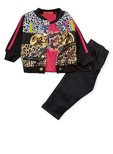 Baby Girl Printed Jacket with Graphic Tee and Jeans,BLACK,large