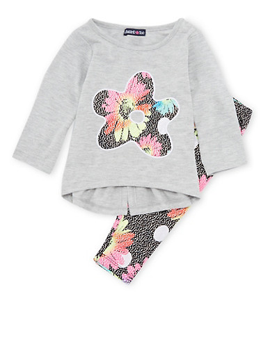 Baby Girl Limited Too Top and Leggings Set,GREY,large