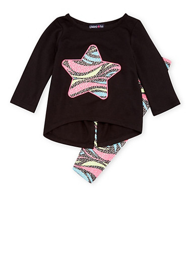 Baby Girl Limited Too Split Back Top and Leggings with Zebra Star Print,BLACK,large
