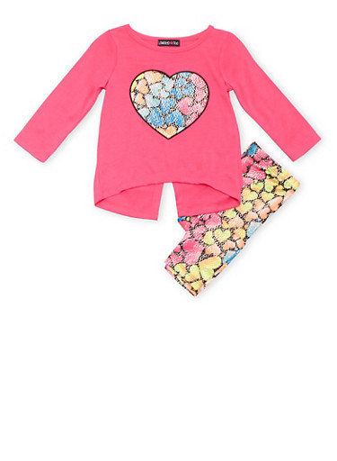 Baby Girl Limited Too Heart Patch Top with Heart Print Leggings Set,FUCHSIA,large