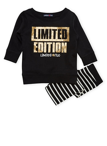 Baby Girl Limited Too Knit Top and Leggings Set with Graphic,BLACK,large