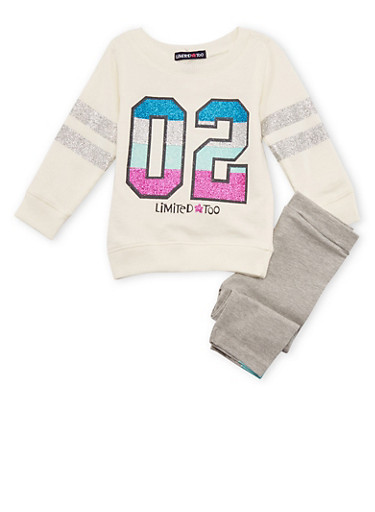 Baby Girl Limited Too Sparkly Numbered Top and Leggings,IVORY,large