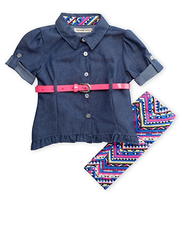 Baby Girls Chambray Top and Aztec Print Leggings with Neon Belt,CHAMBRAY,large