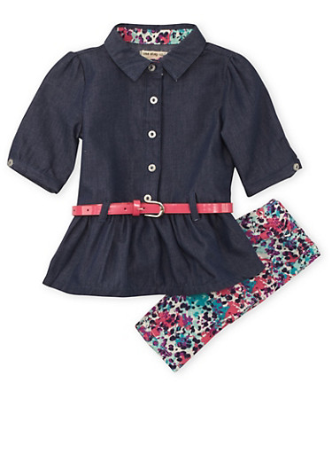 Baby Girl Belted Chambray Top and Printed Leggings Set,CHAMBRAY,large