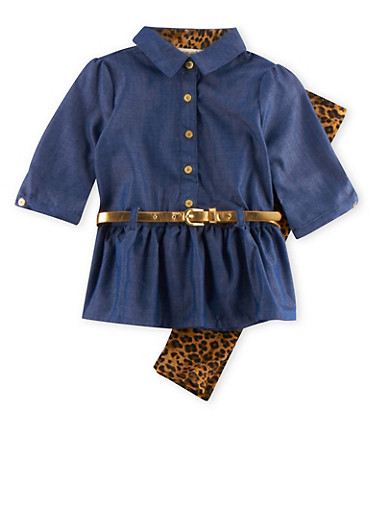 Baby Girl Belted Chambray Top with Printed Leggings Set,LEOPARD PRINT,large