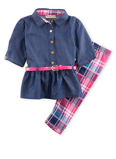 Baby Girl Belted Chambray Top and Printed Leggings Set,PINK,large