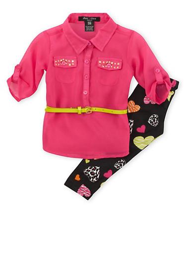 Baby Girls Chiffon Top with Heart Print Leggings and Belt Set,FUCHSIA,large