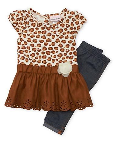 Baby Girl Leopard Print Skater Skirt and Jeggings Set,IVORY,large