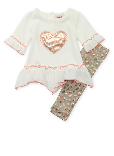 Baby Girl Ruffle Top and Glitter Leggings Set with Sequined Heart,IVORY,large