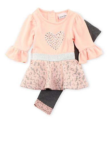 Baby Girl Studded Heart Dress and Leggings with Lace,CORAL,large