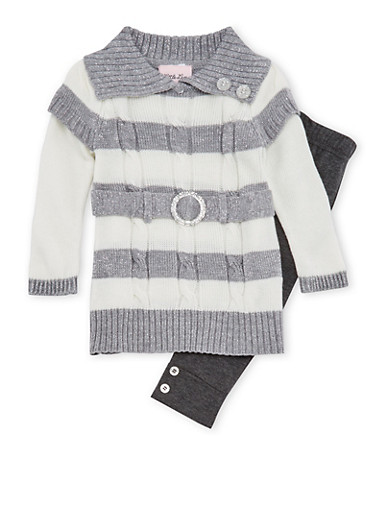 Baby Girl Tunic Sweater and Leggings Set,GRAY,large