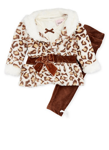 Baby Girl Jacket and Top with Pants Set,BROWN,large