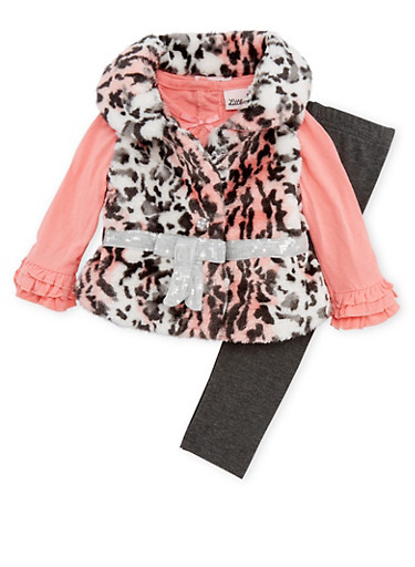 Baby Girl Faux Fur Vest and Top with Pants Set,CORAL,large