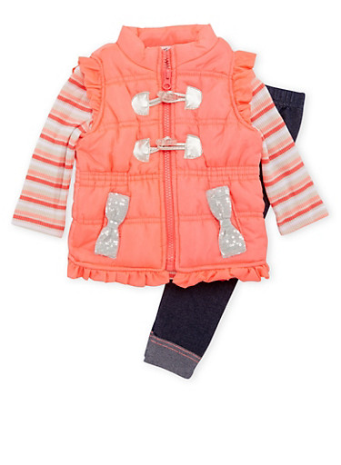 Baby Girl Thermal Top, Puffer Vest and Jeggings Set,FUCHSIA,large