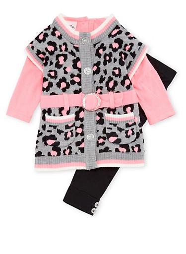 Baby Girl Leopard Print Sweater Dress with Leggings Set,BLACK,large