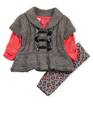 Baby Girl Sweater Top and Leggings Set,GREY,large