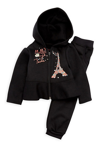 Baby Girl Hoodie and Joggers Set with Paris Graphic,BLACK,large