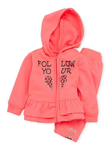 Baby Girl Ruffled Graphic Hoodie and Sweatpants Set,NEON PINK,large