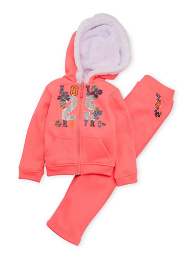 Baby Girl Graphic Hoodie and Sweatpants Set,NEON PINK,large