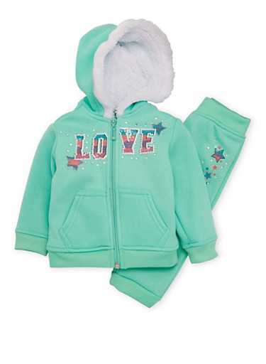 Baby Girl Hoodie and Joggers Set with Love Print,MINT,large